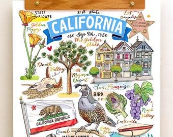 California State Print. Illustration. The Golden State. San Francisco. San Diego. Yosemite. Napa Valley. Los Angeles.