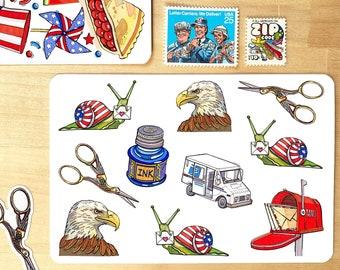USA Snail Mail vinyl sticker sheet.