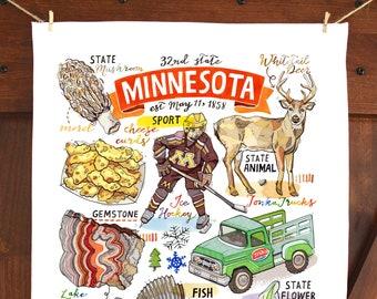 Minnesota Tea Towel. Kitchen towel. Home decor. Dish towel.
