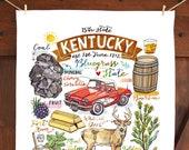 Kentucky Tea Towel. Kitchen Decor. Handmade. State art. Illustration. Bluegrass State.