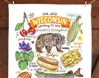 Wisconsin Tea Towel. Kitchen towel. Home decor. Dish towel.