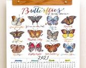 2021 Butterfly Wall Calendar. Butterflies of North America. Home Decor. Lepidoptera.