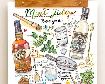 Mint Julep Cocktail print. Illustration. Bar Decor. Food and Drink art. Kitchen decor. Whisky. Bourbon. Classic cocktail.