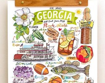 Georgia State Print. Illustration. The Peach State.