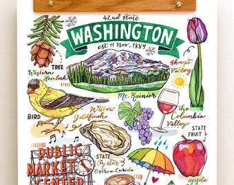 Washington State Print. Illustration. The Evergreen State.