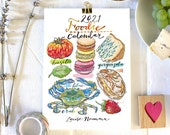 2021 Calendar. Food and Drink. Illustrated. Kitchen Decor. Food Art. Foodie. 5x7