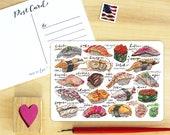 Sushi Postcard.
