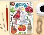 Ohio notebook, illustration, stationery.