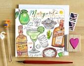 Margarita Cocktail Notecard. Recipe card.