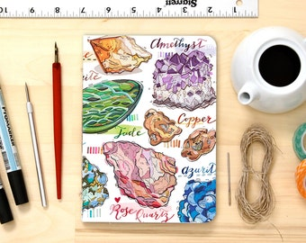 Gemstones notebook, crystals, personalized, blank notepad, healing journal, rocks and minerals