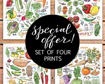 Garden Art Print Set. Kitchen decor. Four seasons. Food art. Portrait. Special offer.