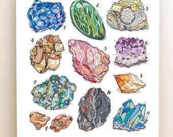 Gemstones print. Crystals illustration. Quartz. Amethyst. Turquoise. Healing. Precious Stones. Geology. Bedroom decor.