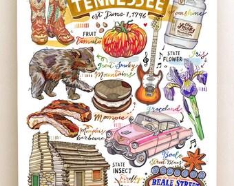 Tennessee Print, illustration, state symbols, Nashville, Smoky Mountains, Elvis, Volunteer State.