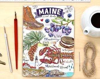 Maine notebook, blank journal, Pine Tree State.