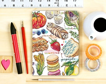 Foodie notebook, blank journal, personalized stationery.