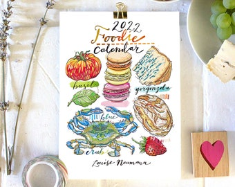 2022 Foodie Calendar. Food and Drink. 5x7 inches.