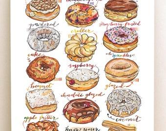 Donuts print. Doughnuts. Illustration. Kitchen decor. Food art. Sweets. Bakery.
