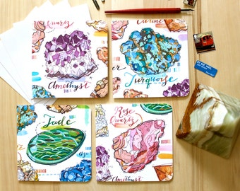 Gemstone notecards. Crystals writing set. Positive Thoughts.