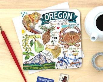 Oregon Notecard. Single or Pack of 4.
