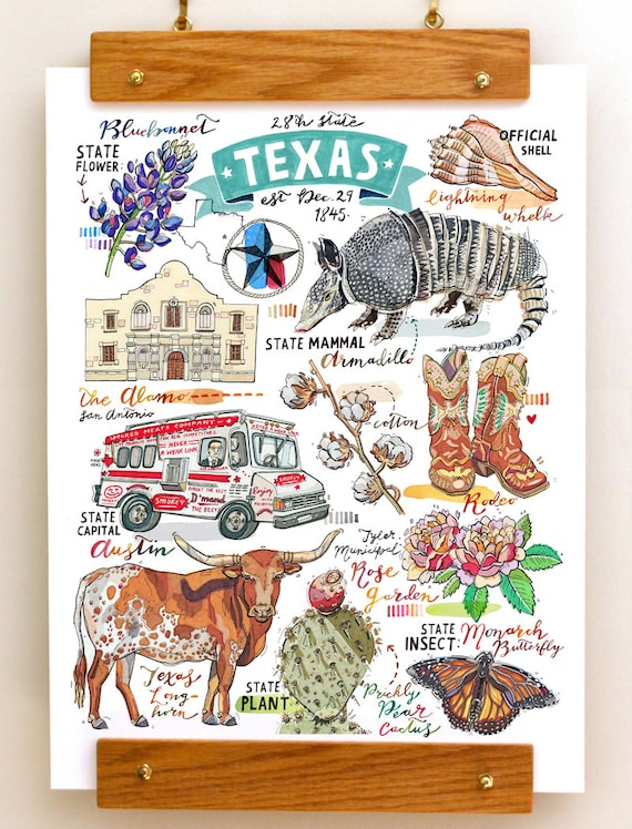 Texas Print Illustration State Symbols The Lone Star State Etsy
