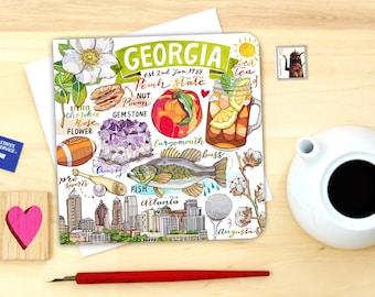 Georgia notecard. Single or set of 4.