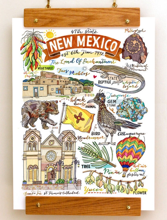 New Mexico State Print Illustration State Symbols Home Etsy