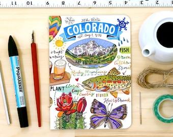 Colorado notebook, Blank journal, illustration, State Symbols.