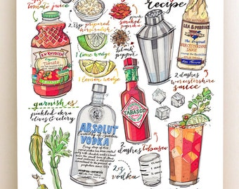 Bloody mary print. Cocktail illustration. Recipe. Bar decor. Kitchen decor. Summertime. Vodka. Drinks. Classic cocktail.