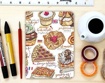 Pastries notebook, cakes and sweets, personalized journal, blank.