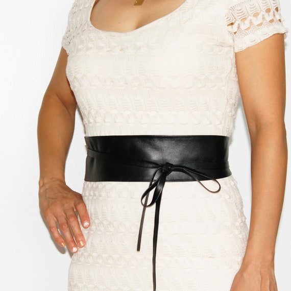 Plus Size VIKTOR SABO Exclusive Canadian Handmade Obi CharcoaL Gray Leather For Waistline Up To 65165 cm