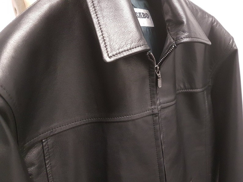 00954450f New Big & Tall VIKTOR SABO Canadian Exclusive Men's Lambskin BLACK Bomber  Jacket Great Gift Colors Available Size 48