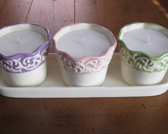 3 Soy Wax Candles With Tray