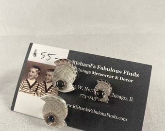 1950s novelty cufflink and tie tac set diamond cut silver tone with dark stone
