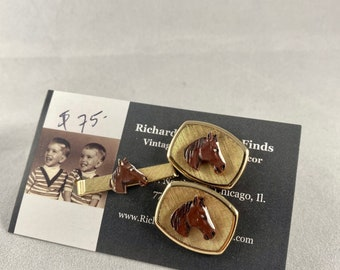 1950s equestrian horse head novelty cuff link and tie clip set