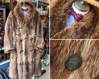 1920s Raccoon Fur Coat Vintage men's Large Long repaired and cleaned