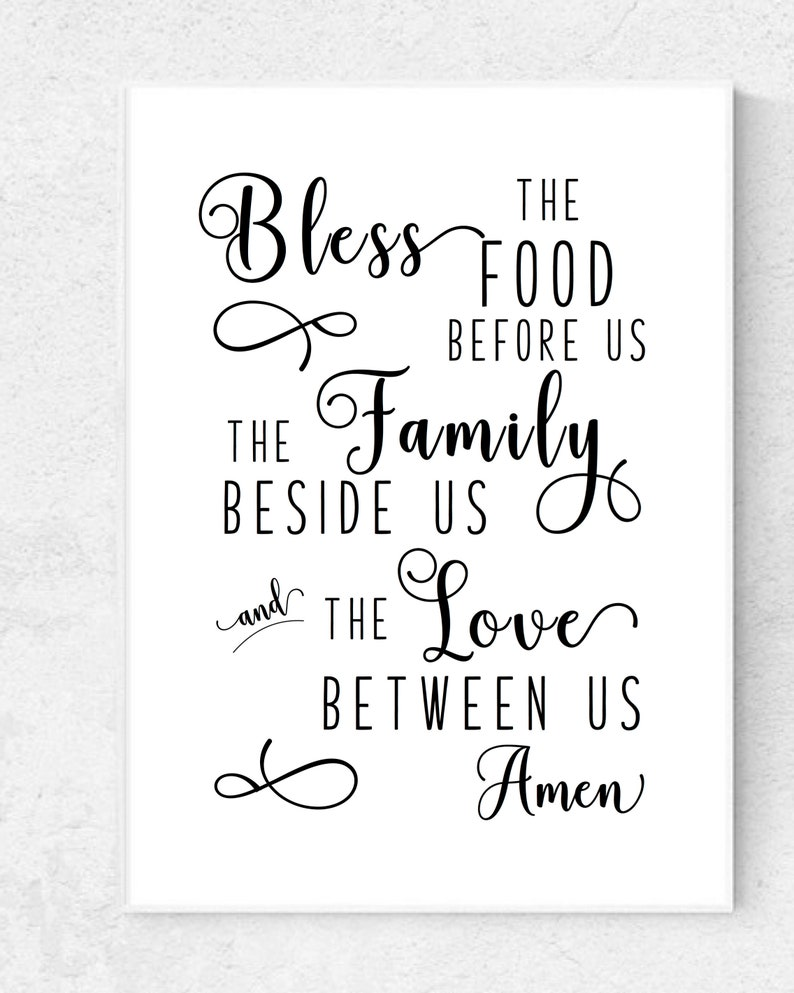 photograph about Bless the Food Before Us Printable referred to as Bless the Food items Ahead of Us Printable Farmhouse Kitchen area Printable Rustic Kitchen area Decor Farmhouse Printable Wall Artwork Printable