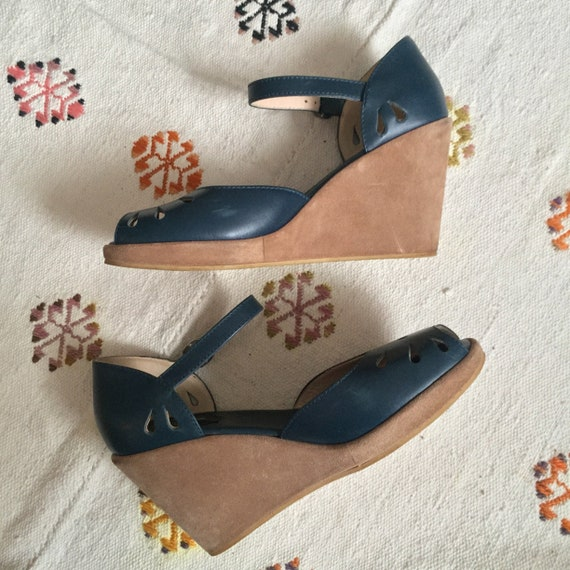 APC / green suede platform sandals / US 9