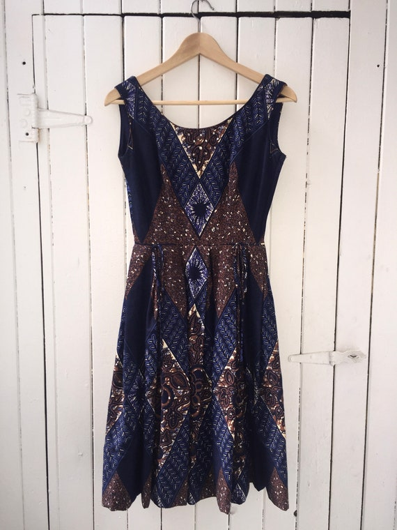 1950s / dark navy batik dress / XXS-XS