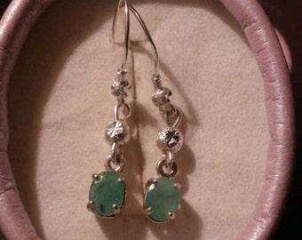 Natural Sakota Emeralds Sterling Silver Earrings