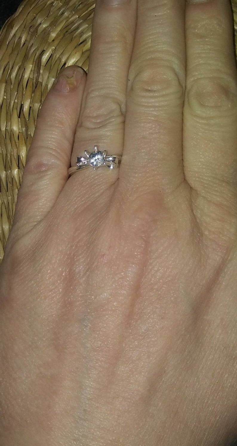 Natural White Zircon Sterling Silver Engagement Ring