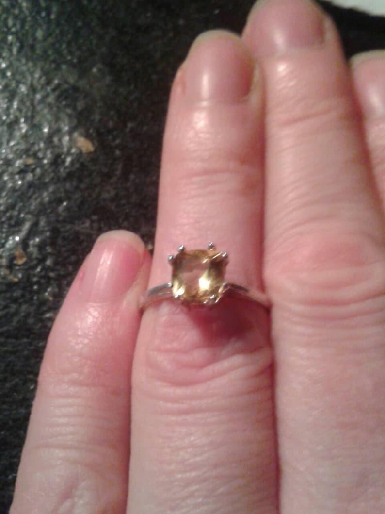 Natural Golden Heliodor Sterling Silver Engagement Ring