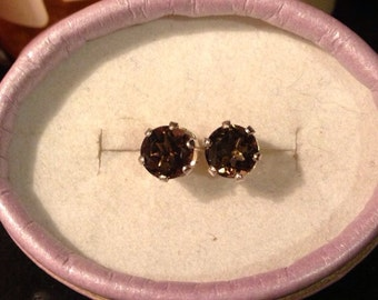 SALE! Natural Chocolate Smokey Quartz Sterling Silver Earrings