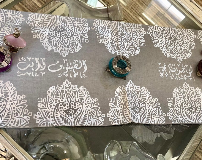 Table Runner, decorated with Arabic calligraphy poetry. Silver and gray