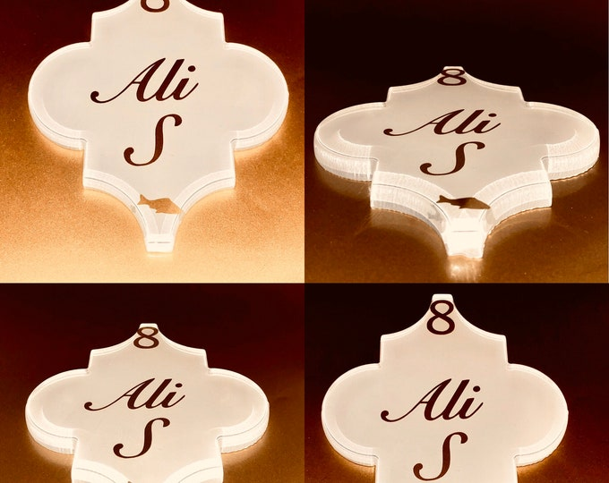 An arabesque glass tile shape placecard, souvenir, takeaway, gift. wedding and party favors Personalized