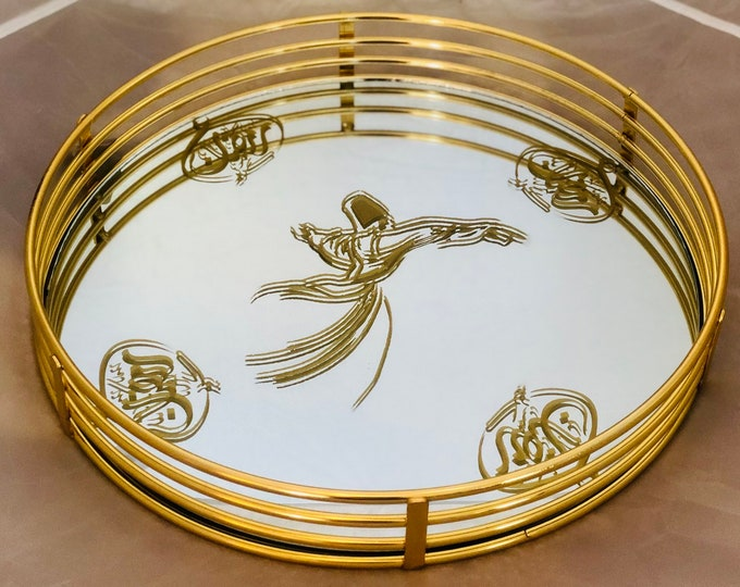 Gold trim, mirrored serving tray.  Arabic calligraphy رمضان كريم