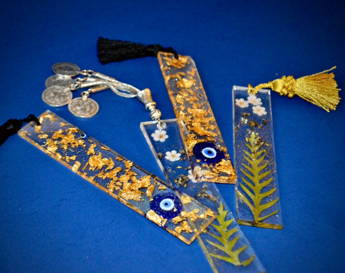 clear Gold Leaf  bookmark, Resin pressed flower , evil eye bookmark...and more