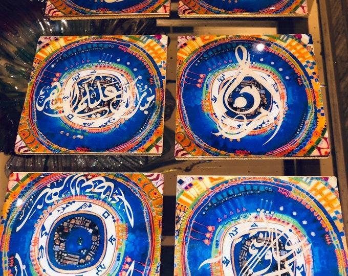 رمضانSet of six coaster. Designed and decorated for Ramadan.