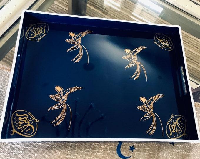 صينية تقديمserving tray , decorated with silver writing using permenant vinyl