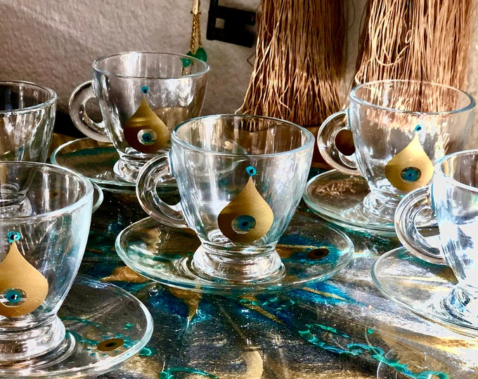 Set of six clear glass Espresso cups and saucer teardrop gold design