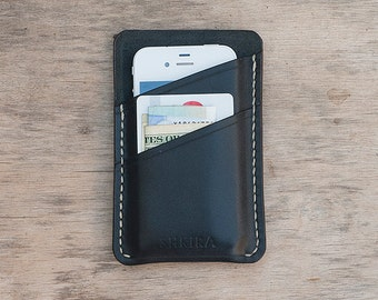 On Sale Personalized iPhone 4/4s Leather Case Wallet Black with Beige Stitching